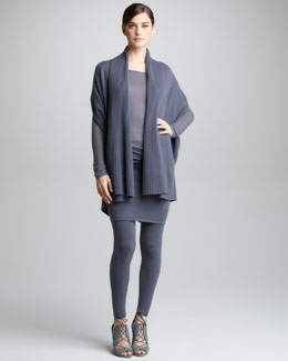 Donna Karan Ribbed Draped Cashmere Cardigan, Lightweight Pullover, Stretch Tube Skirt & Leggings