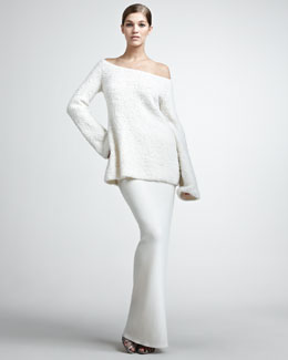 Donna Karan Wool/Cashmere Boucle Pullover & Long Skirt