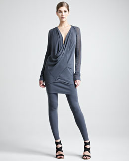 Donna Karan Cashmere Mesh Shrug, Draped Top, Stretch-Cashmere Tube Skirt & Leggings