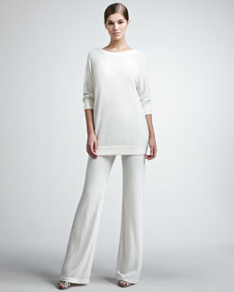 Donna Karan Three-Quarter-Sleeve Cashmere Pullover & Lounge Pants