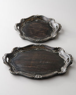 "Black ""Baroque"" Charger Plates"