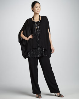 Eileen Fisher Silk Georgette Jacket, Sequined Sleeveless Tunic & Silk Georgette Straight-Leg Pants, Women's