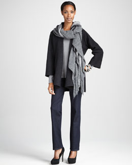 Eileen Fisher Lightweight Boiled Wool Coat, Brushed Ombre Wrap & Organic Straight-Leg Jeans, Women's