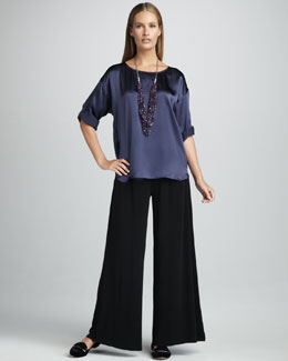 Eileen Fisher Hammered Satin Top & Silk-Jersey Wide-Leg Pants