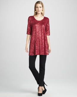 Eileen Fisher Long Sequined Tunic & Skinny Ponte Pants