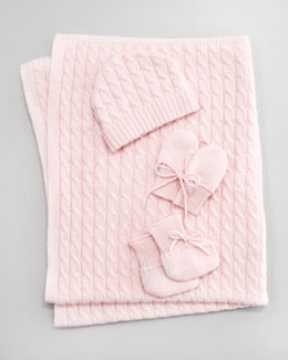 Neiman Marcus Cashmere Baby Cable-Knit Cap, Mittens, Booties & Blanket, Light Pink