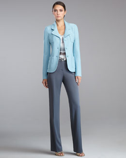 St. John Collection Boucle-Knit Parisian Blazer, Watercolor-Print Sleeveless Blouse, Shelley Stretch-Wool Pants & Metallic Napa Leather Belt