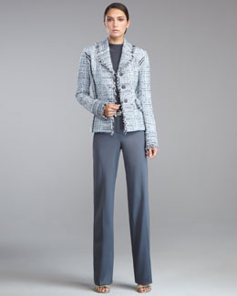 St. John Collection Fringe-Trim Tweed Blazer, Fine Gauge Mock-Neck Shell, Shelley Stretch-Wool Pants & Metallic Napa Leather Belt