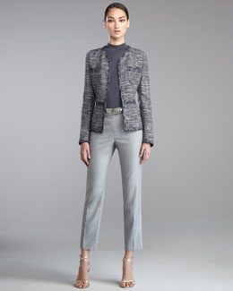 St. John Collection Trimmed Tweed Jacket, Fine Gauge Mock-Neck Shell, Emma Cropped Pants & Metallic Napa Leather Belt