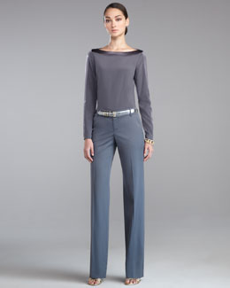 St. John Collection Stretch Silk Blouse, Garcon Stretch Venetian Pants & Metallic Napa Leather Belt