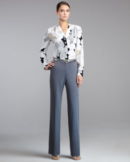 St. John Collection Mod Floral-Print Stretch Silk Blouse, Shelley Stretch-Wool Pants & Metallic Napa Leather Belt