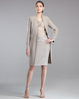 St. John Collection Hudson Tweed Jacket, Stretch Silk Drape-Neck Blouse & Hudson Tweed Pencil Skirt