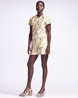 Stella McCartney Structured Floral Shirt & Pleated Shorts