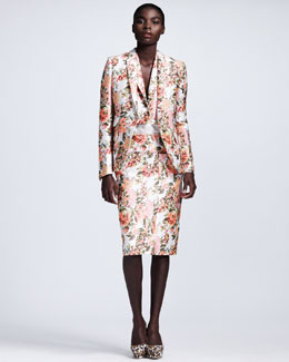Stella McCartney Floral Jacquard Jacket, Blouse-Hemmed Combination Vest & Pocketed Pencil Skirt