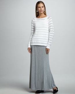 Eileen Fisher Striped-Sheer Knit Top, Organic-Cotton Tank & Maxi Flutter Skirt