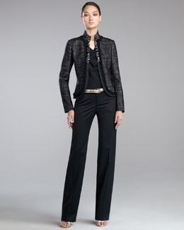 St. John Collection Jeweled Mandarin-Collar Jacket, Stretch Silk Cap-Sleeve Blouse, Garcon Stretch Venetian Pants & Metallic Napa Leather Belt