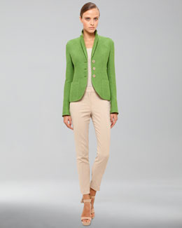 Akris Panama Stretch Jacket, Stretch Cotton Knit Tank & Techno Stretch Cropped Pants