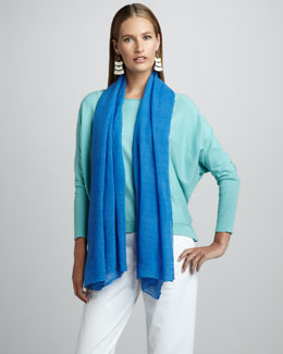 Eileen Fisher Organic Long-Sleeve Top & Gauzy Wool Scarf