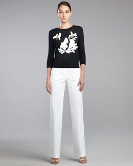 St. John Collection Tiger Intarsia-Knit Sweater & Shelley Pants