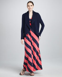 Lilly Pulitzer Sierra Mixed-Stitched Cardigan & Sloane Bias-Striped Maxi Dress