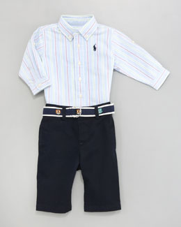 Ralph Lauren Childrenswear Striped Oxford Shirt & Pants Set