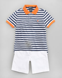 Ralph Lauren Childrenswear Striped Colorblock Polo & Lightweight Chino Shorts