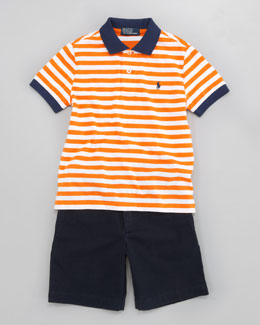 Ralph Lauren Childrenswear Jersey Striped Polo & Lightweight Chino Shorts