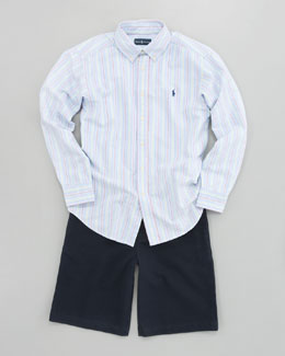 Ralph Lauren Childrenswear Blake Oxford Stripe Shirt & Chino Shorts