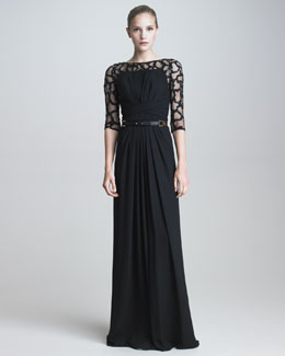 Elie Saab Gown with Beaded Illusion Lace & Leather Belt