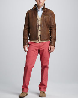 Polo Ralph Lauren Leather Newsboy Jacket, Fair Isle Cardigan & Suffield Twill Pants