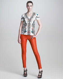 Roberto Cavalli Printed V-Neck Tee & Stitched Leather Leggings