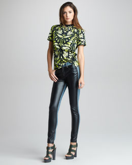 McQ Alexander McQueen Dragonfly Wing-Print T-Shirt & Faux Leather/Denim Leggings