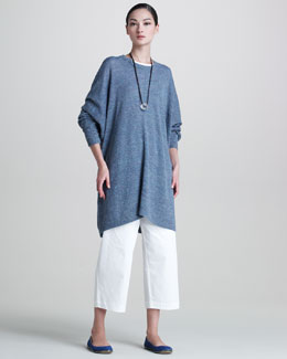 eskandar Round-Neck Sweater, Scoop-Neck T-Shirt, Japanese Trousers & Quartz Pendant Necklace