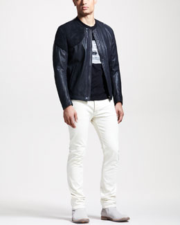 Maison Martin Margiela Two-Tone Leather Jacket, Radio-Print Silk Tee & Slim White Jeans