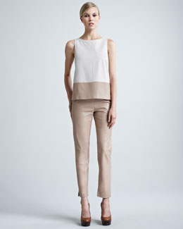 Paule Ka Colorblock Leather Top & Cropped Leather Pants