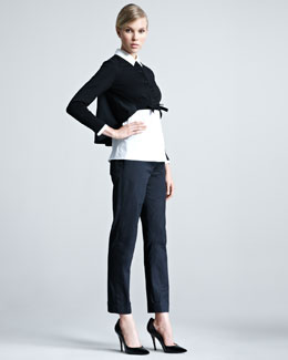Paule Ka Cropped Cape-Back Cardigan, Poplin Blouse & Slim Gabardine Pants