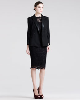 Pierre Balmain Embossed-Lapel Blazer, Fitted Lace Dress & Slip