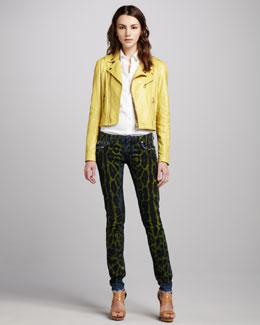 Pierre Balmain Leather Moto Jacket & Snake-Print Jeans