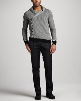 Alexander McQueen Patterned Asymmetric Cardigan & Slim Twill Pants