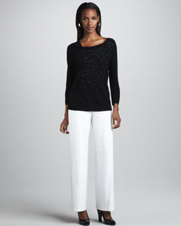 Eileen Fisher Beaded Wool Top & Wide-Leg Pants, Petite