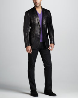 Ralph Lauren Black Label Anthony Leather Sport Coat, Cashmere V-Neck Sweater & James Twill Pants