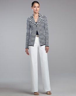 St. John Collection Striped Milano Knit Blazer, Fine Gauge Ribbed Knit Shell, Shelley Pants & Metallic Napa Leather Belt
