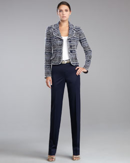 St. John Collection Sutton Tweed Jacket, Fine Gauge Ribbed Knit Shell, Diana Straight-Leg Pants & Metallic Napa Leather Belt