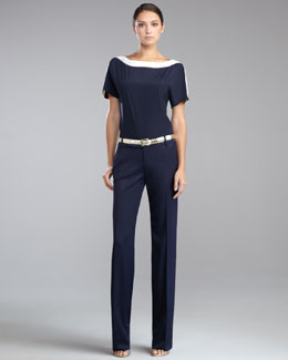 St. John Collection Crepe de Chine Short-Sleeve Blouse, Garcon Stretch Venetian Pant & Metallic Napa Leather Belt
