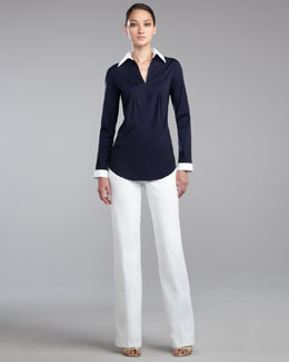 St. John Collection Stretch Poplin Tunic Blouse & Shelley Pants