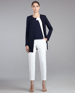 St. John Collection Milano Knit Zip-Front Jacket, Shell & Emma Weave Cropped Pants