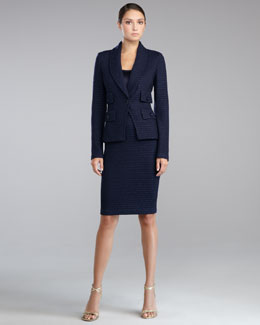 St. John Collection Eastside Knit Fitted Blazer, Liquid Satin Shell & Eastside Knit Pencil Skirt