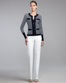 St. John Collection Tribeca Knit Zip-Front Jacket, Fine Gauge Ribbed Knit Shell & Marie Pants