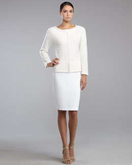 St. John Collection Shimmer Boucle Pullover & Crepe Marocain Pencil Skirt