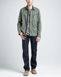 Rag & Bone Hendon Shirt Jacket, Striped Crewneck Tee & Dark-Rinse Selvedge Jeans